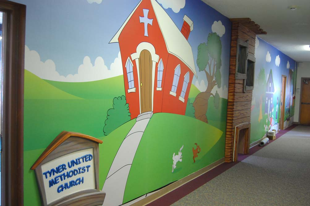 Cartoon Church Wall Mural